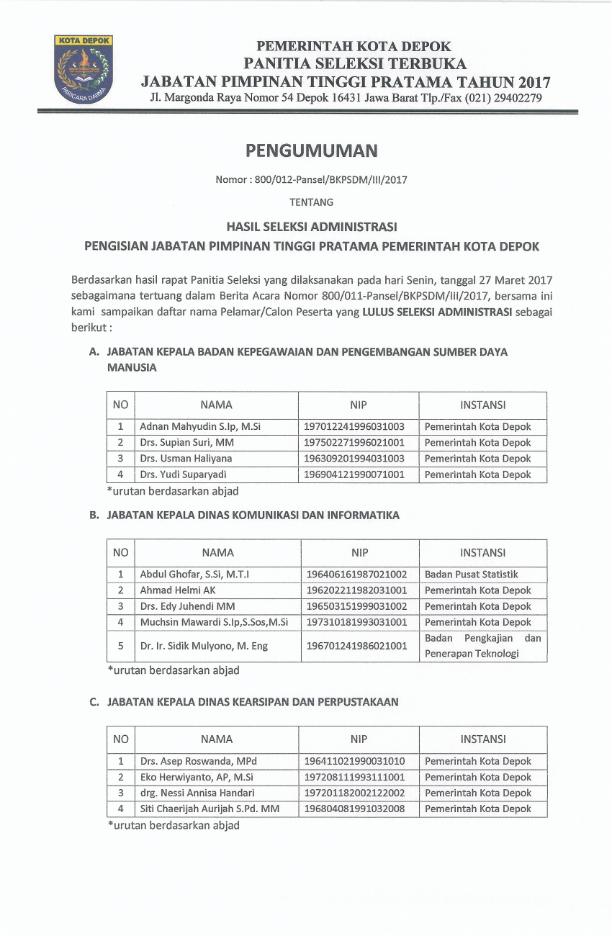 Photo of Lelang Jabatan Kota Depok 2017 Masuki Tahap Pemeriksaan Kesehatan